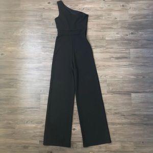 Lulus One Shoulder Black Jumpsuit XS